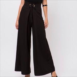Black Classic wide-leg Palazzo maxi pants • Med